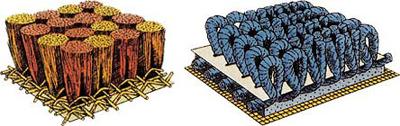 Тафтинговый слева и тканый справа